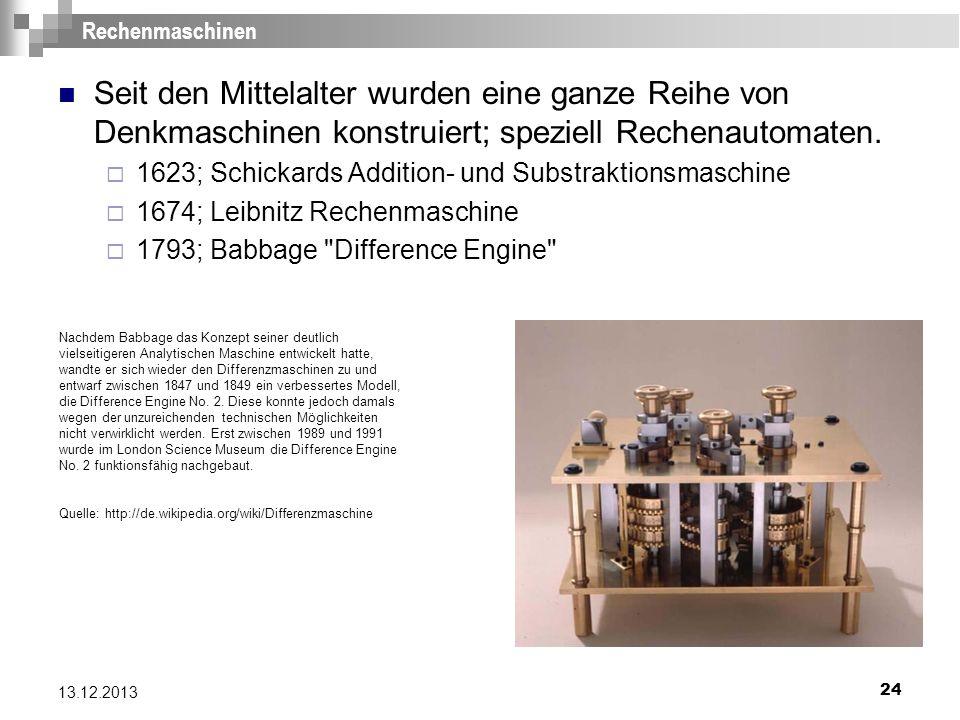 24 13.12.2013 Rechenmaschinen Seit den Mittelalter wurden eine ganze Reihe von Denkmaschinen konstruiert; speziell Rechenautomaten. 1623; Schickards A