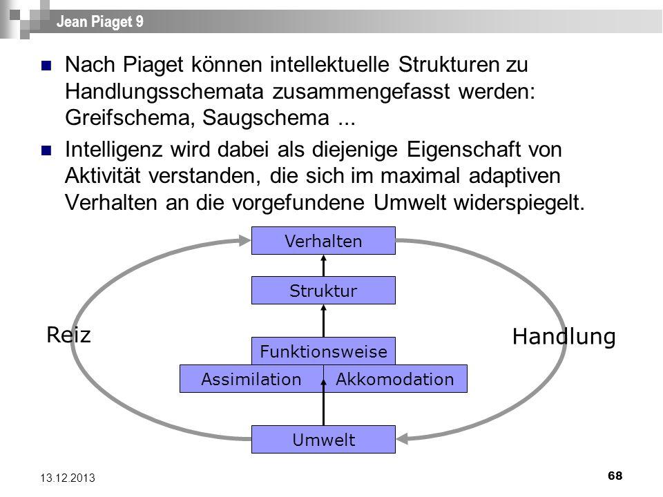 68 13.12.2013 Jean Piaget 9 Nach Piaget können intellektuelle Strukturen zu Handlungsschemata zusammengefasst werden: Greifschema, Saugschema... Intel