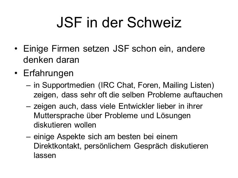 JSF in der Schweiz Einige Firmen setzen JSF schon ein, andere denken daran Erfahrungen –in Supportmedien (IRC Chat, Foren, Mailing Listen) zeigen, dass sehr oft die selben Probleme auftauchen –zeigen auch, dass viele Entwickler lieber in ihrer Muttersprache über Probleme und Lösungen diskutieren wollen –einige Aspekte sich am besten bei einem Direktkontakt, persönlichem Gespräch diskutieren lassen