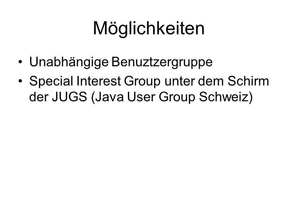 Möglichkeiten Unabhängige Benuztzergruppe Special Interest Group unter dem Schirm der JUGS (Java User Group Schweiz)