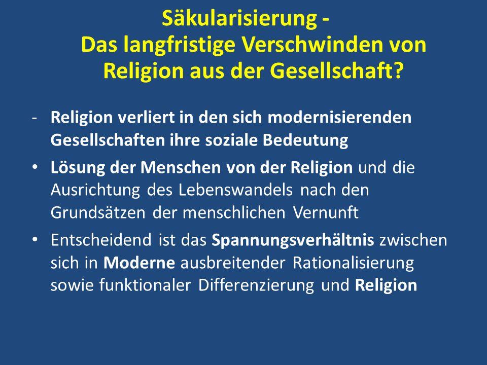 Säkularisierung - Das langfristige Verschwinden von Religion aus der Gesellschaft? -Religion verliert in den sich modernisierenden Gesellschaften ihre
