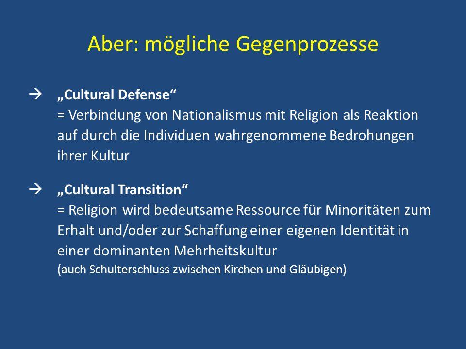 Aber: mögliche Gegenprozesse Cultural Defense = Verbindung von Nationalismus mit Religion als Reaktion auf durch die Individuen wahrgenommene Bedrohun