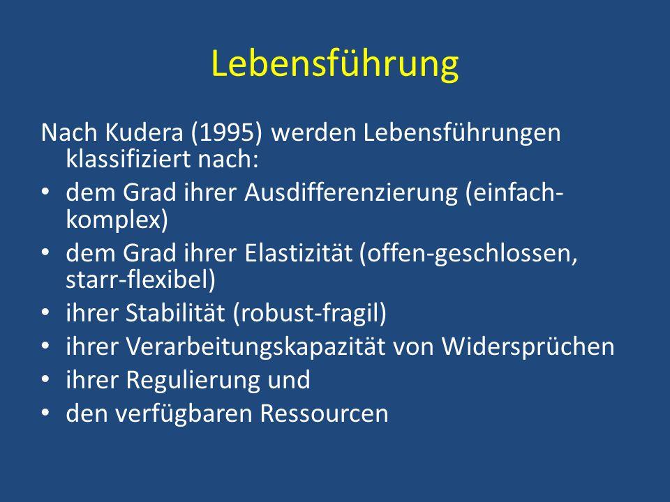 Lebensführung Nach Kudera (1995) werden Lebensführungen klassifiziert nach: dem Grad ihrer Ausdifferenzierung (einfach- komplex) dem Grad ihrer Elasti