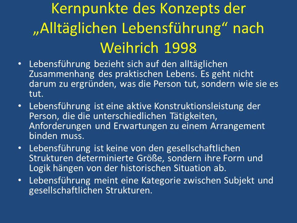 Kernpunkte des Konzepts der Alltäglichen Lebensführung nach Weihrich 1998 Lebensführung bezieht sich auf den alltäglichen Zusammenhang des praktischen