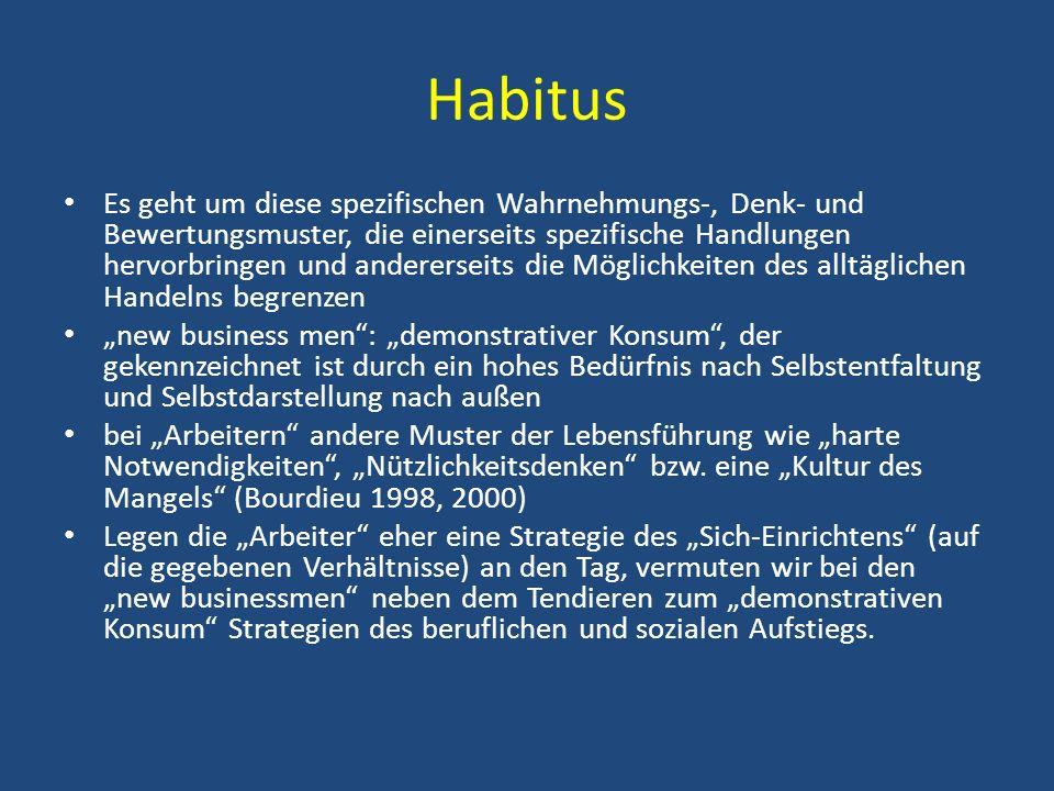 Habitus Es geht um diese spezifischen Wahrnehmungs-, Denk- und Bewertungsmuster, die einerseits spezifische Handlungen hervorbringen und andererseits