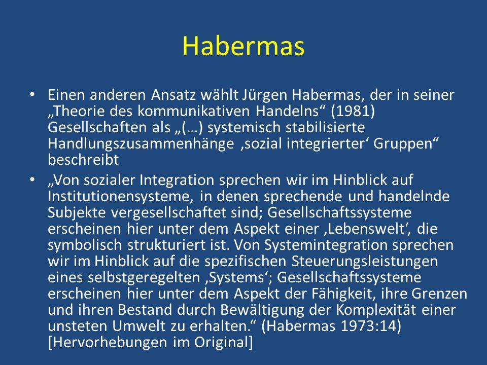 Habermas Einen anderen Ansatz wählt Jürgen Habermas, der in seiner Theorie des kommunikativen Handelns (1981) Gesellschaften als (…) systemisch stabil