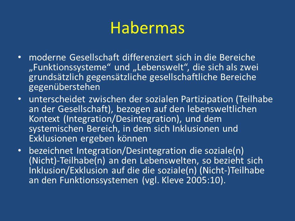 Habermas moderne Gesellschaft differenziert sich in die Bereiche Funktionssysteme und Lebenswelt, die sich als zwei grundsätzlich gegensätzliche gesel