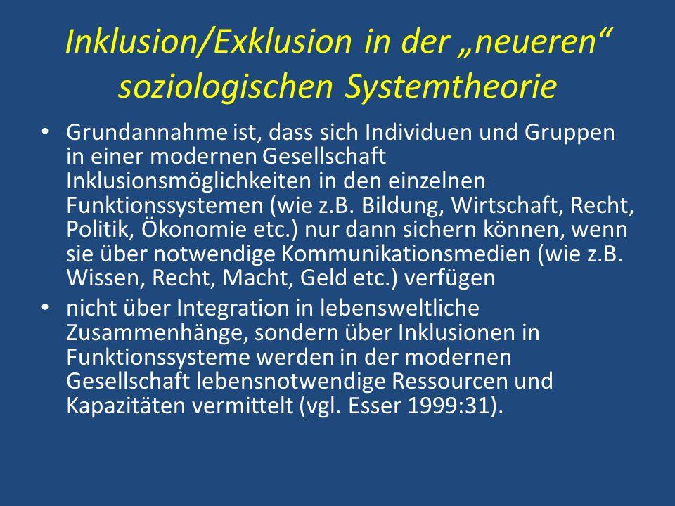 Inklusion/Exklusion in der neueren soziologischen Systemtheorie Grundannahme ist, dass sich Individuen und Gruppen in einer modernen Gesellschaft Inkl