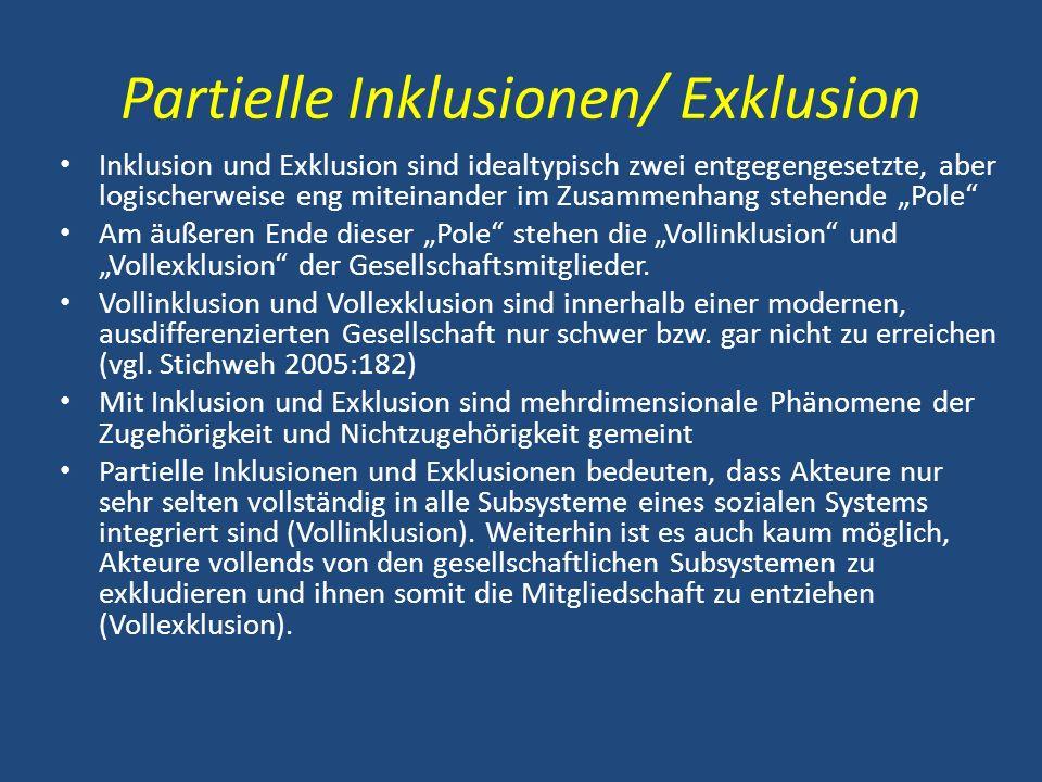 Partielle Inklusionen/ Exklusion Inklusion und Exklusion sind idealtypisch zwei entgegengesetzte, aber logischerweise eng miteinander im Zusammenhang