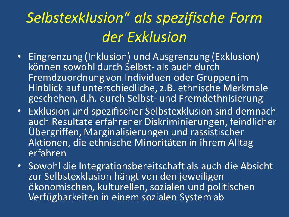 Selbstexklusion als spezifische Form der Exklusion Eingrenzung (Inklusion) und Ausgrenzung (Exklusion) können sowohl durch Selbst- als auch durch Frem