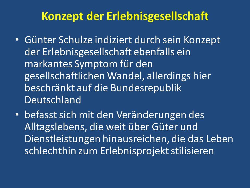 Konzept der Erlebnisgesellschaft Günter Schulze indiziert durch sein Konzept der Erlebnisgesellschaft ebenfalls ein markantes Symptom für den gesellsc