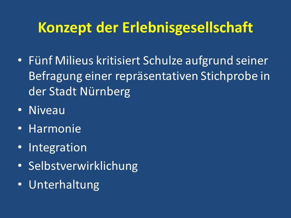 Konzept der Erlebnisgesellschaft Fünf Milieus kritisiert Schulze aufgrund seiner Befragung einer repräsentativen Stichprobe in der Stadt Nürnberg Nive