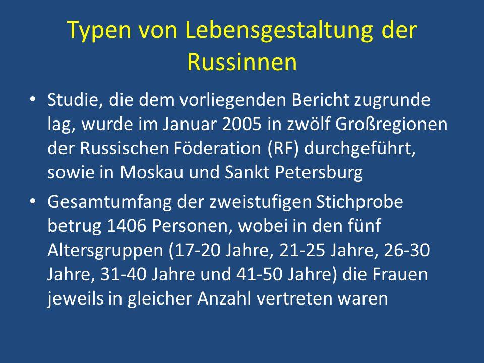 Typen von Lebensgestaltung der Russinnen Studie, die dem vorliegenden Bericht zugrunde lag, wurde im Januar 2005 in zwölf Großregionen der Russischen
