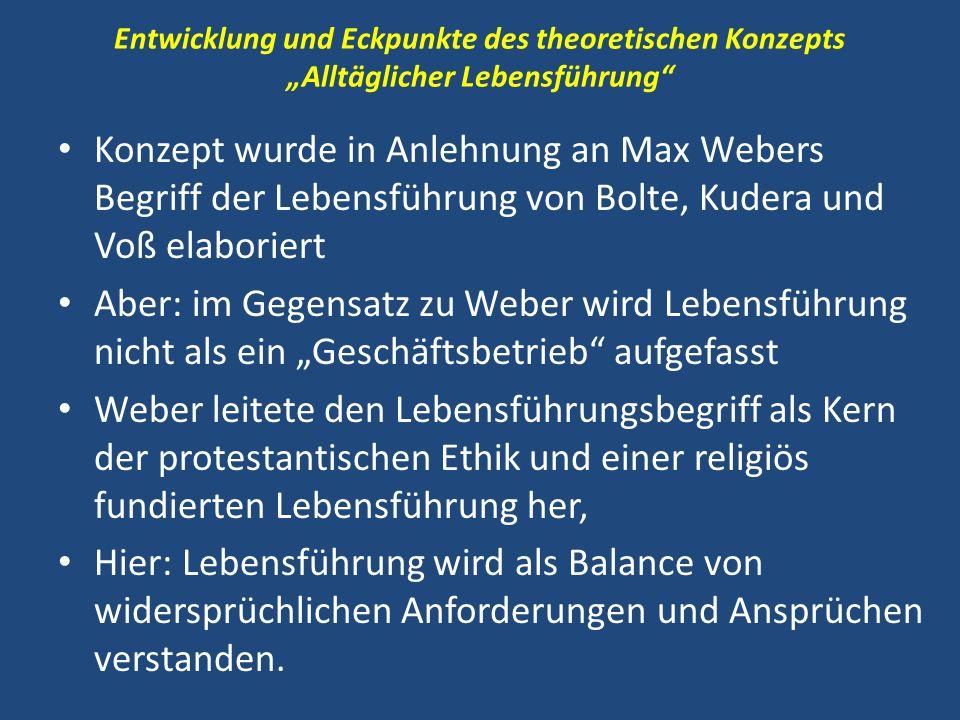 Entwicklung und Eckpunkte des theoretischen Konzepts Alltäglicher Lebensführung Konzept wurde in Anlehnung an Max Webers Begriff der Lebensführung von