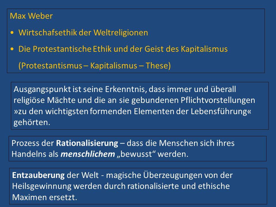 Max Weber Wirtschafsethik der Weltreligionen Die Protestantische Ethik und der Geist des Kapitalismus (Protestantismus – Kapitalismus – These) Ausgang