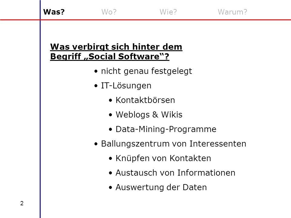 2 Was?Wo?Wie?Warum? Was verbirgt sich hinter dem Begriff Social Software? nicht genau festgelegt IT-Lösungen Kontaktbörsen Weblogs & Wikis Data-Mining
