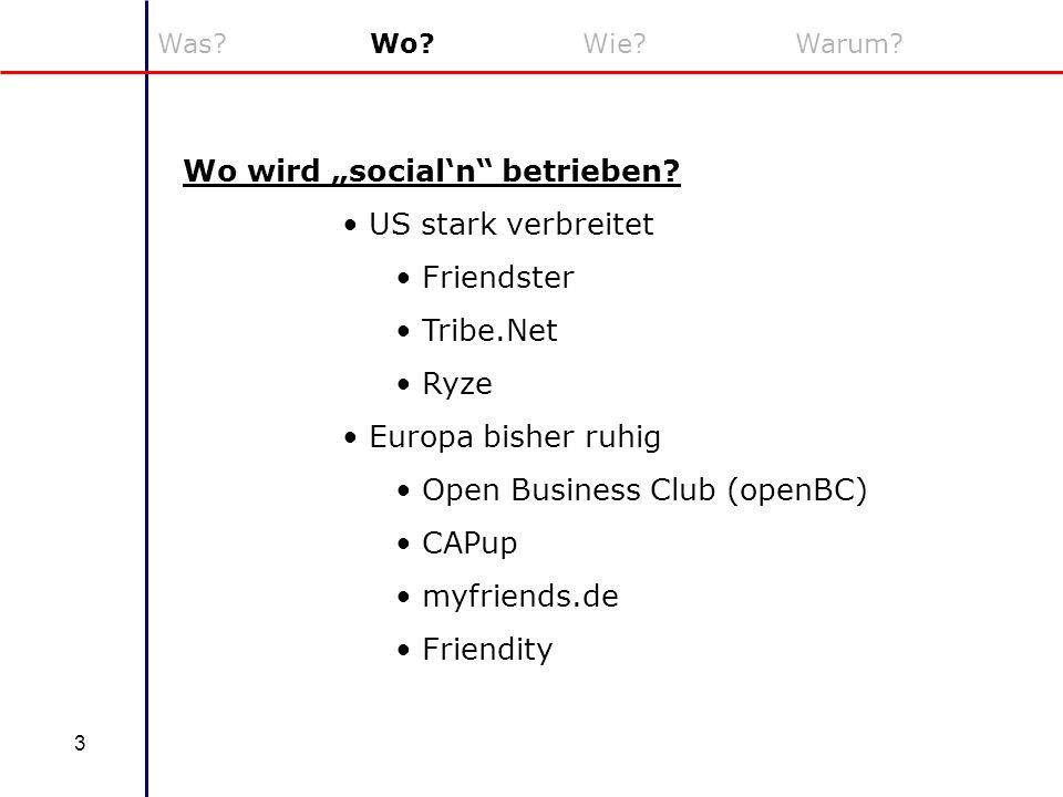 3 Was?Wo?Wie?Warum? Wo wird socialn betrieben? US stark verbreitet Friendster Tribe.Net Ryze Europa bisher ruhig Open Business Club (openBC) CAPup myf