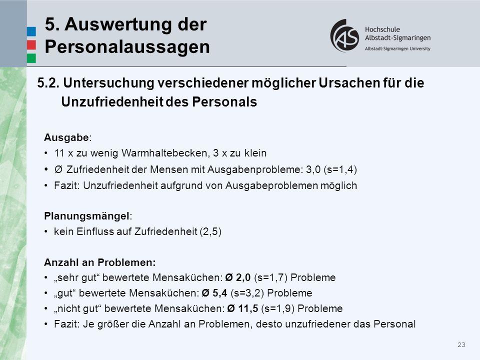 23 5. Auswertung der Personalaussagen 5.2. Untersuchung verschiedener möglicher Ursachen für die Unzufriedenheit des Personals Ausgabe: 11 x zu wenig