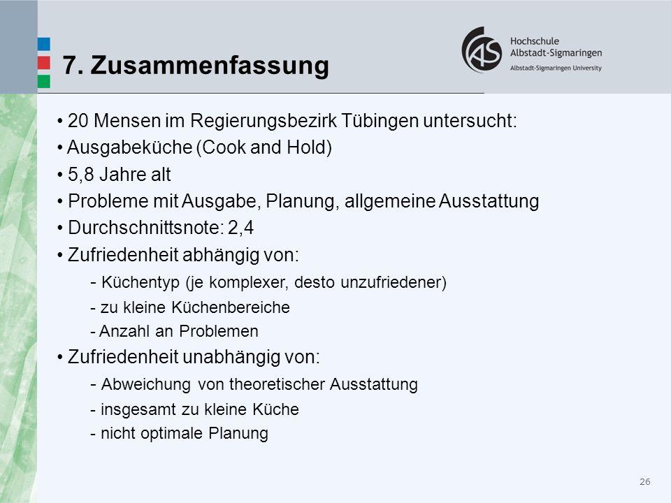 26 7. Zusammenfassung 20 Mensen im Regierungsbezirk Tübingen untersucht: Ausgabeküche (Cook and Hold) 5,8 Jahre alt Probleme mit Ausgabe, Planung, all