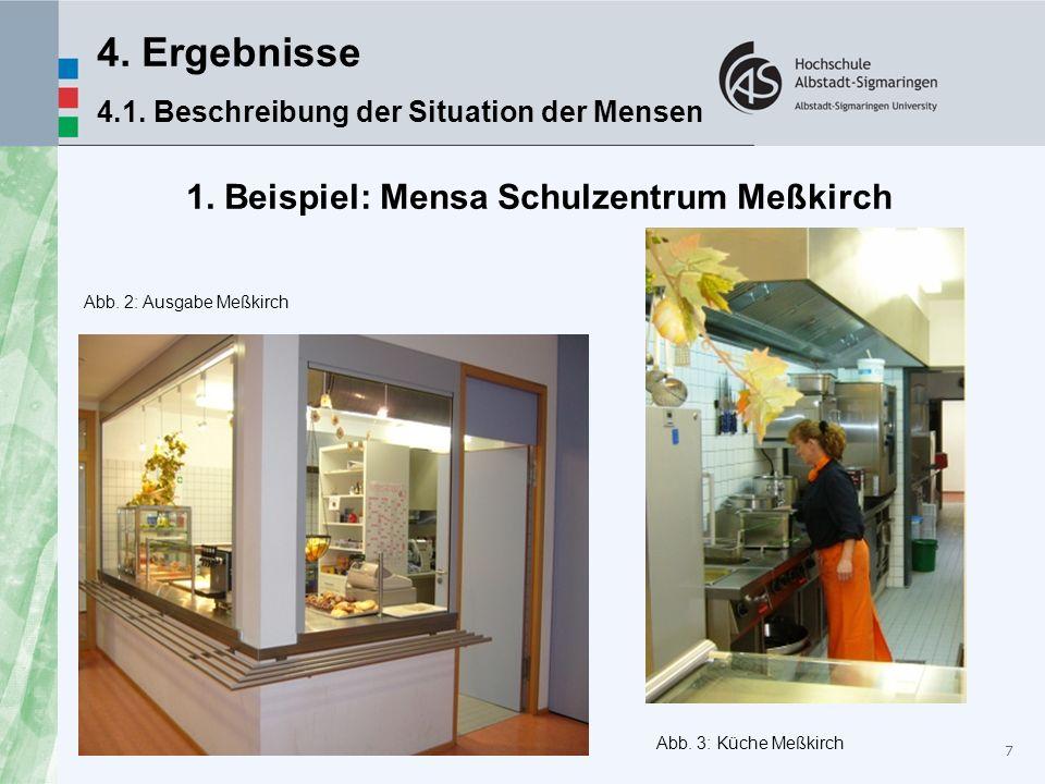 7 4. Ergebnisse 4.1. Beschreibung der Situation der Mensen 1. Beispiel: Mensa Schulzentrum Meßkirch Abb. 2: Ausgabe Meßkirch Abb. 3: Küche Meßkirch