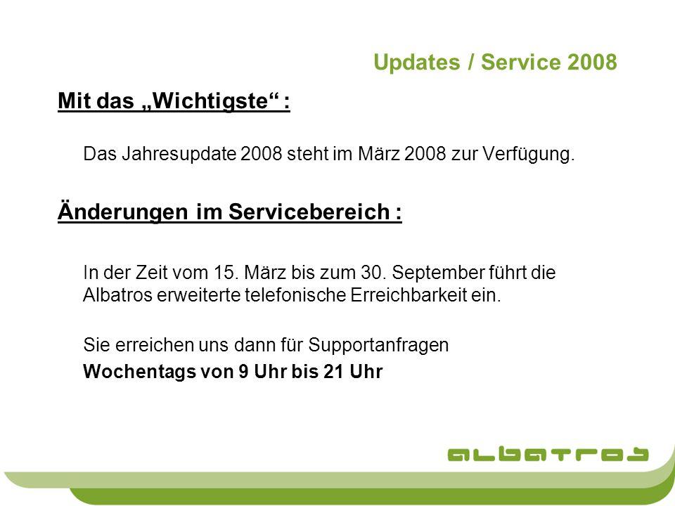 Updates / Service 2008 Mit das Wichtigste : Das Jahresupdate 2008 steht im März 2008 zur Verfügung. Änderungen im Servicebereich : In der Zeit vom 15.