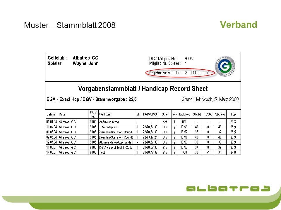 Verband Muster – Stammblatt 2008