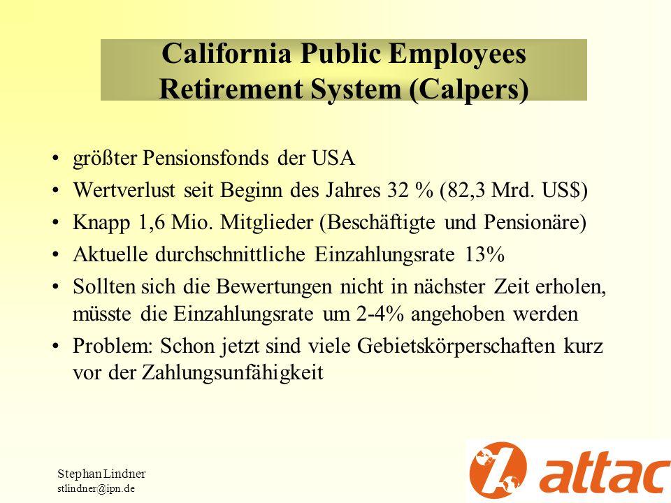 California Public Employees Retirement System (Calpers) größter Pensionsfonds der USA Wertverlust seit Beginn des Jahres 32 % (82,3 Mrd. US$) Knapp 1,