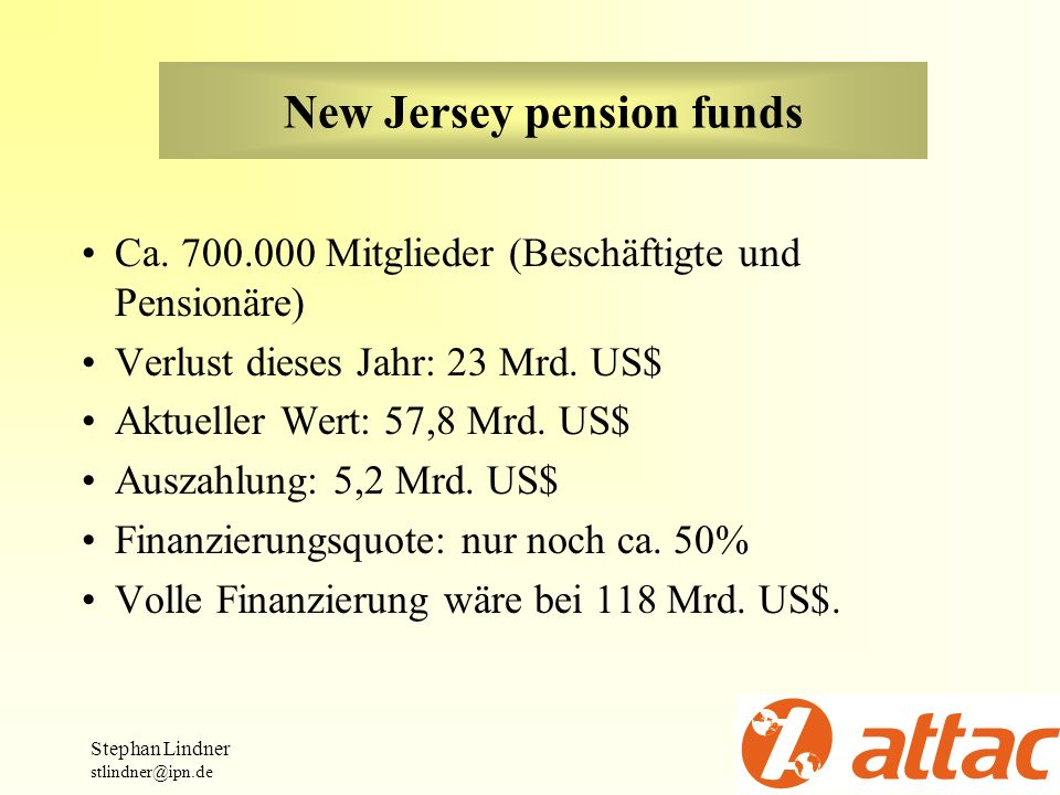 New Jersey pension funds Ca. 700.000 Mitglieder (Beschäftigte und Pensionäre) Verlust dieses Jahr: 23 Mrd. US$ Aktueller Wert: 57,8 Mrd. US$ Auszahlun
