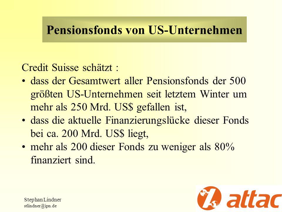 Pensionsfonds von US-Unternehmen Credit Suisse schätzt : dass der Gesamtwert aller Pensionsfonds der 500 größten US-Unternehmen seit letztem Winter um