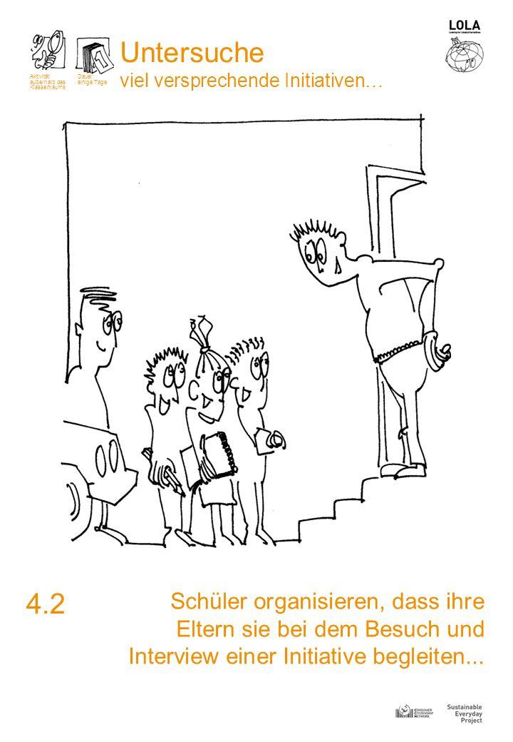 Schüler organisieren, dass ihre Eltern sie bei dem Besuch und Interview einer Initiative begleiten... 4.2 Aktivität außerhalb des Klassenraums Dauer: