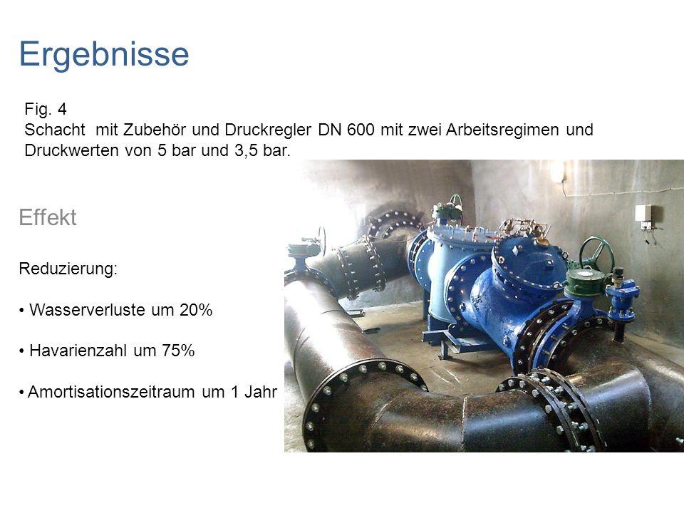 Drei Lösungen für die Druckregelung DMA 3, 2010 Gesamtlänge des Wasserleitungsnetzes: 104 818 m Personen: 100 000 Druckregler: DN 600 und DN 400 Eingangsdruck: 4,7 bar Ausgangsdruck: 3,7 bar