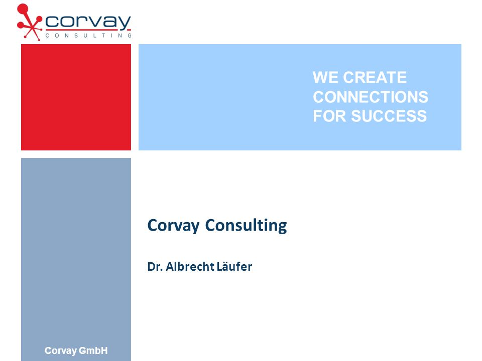 WE CREATE CONNECTIONS FOR SUCCESS Corvay GmbH Corvay Consulting Dr. Albrecht Läufer