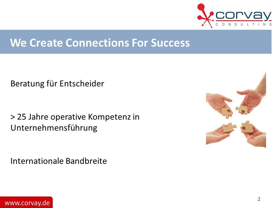 We Create Connections For Success Beratung für Entscheider > 25 Jahre operative Kompetenz in Unternehmensführung Internationale Bandbreite 2