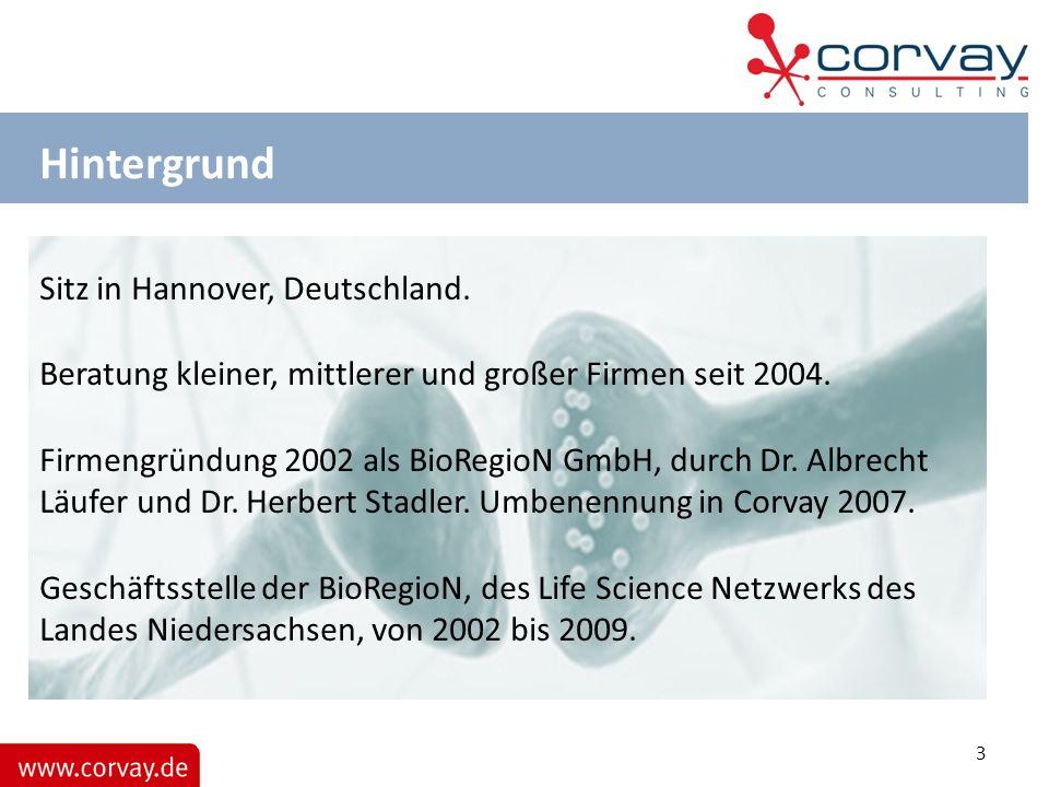 Hintergrund Sitz in Hannover, Deutschland. Beratung kleiner, mittlerer und großer Firmen seit 2004. Firmengründung 2002 als BioRegioN GmbH, durch Dr.