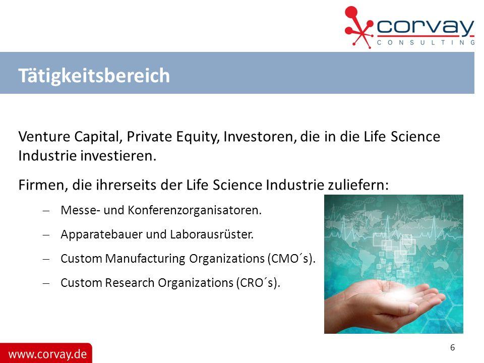Tätigkeitsbereich Venture Capital, Private Equity, Investoren, die in die Life Science Industrie investieren. Firmen, die ihrerseits der Life Science