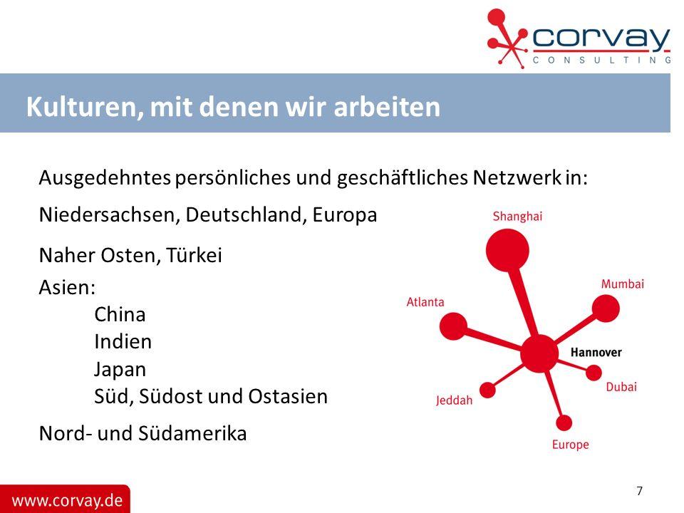Kulturen, mit denen wir arbeiten Ausgedehntes persönliches und geschäftliches Netzwerk in: Niedersachsen, Deutschland, Europa Naher Osten, Türkei Asie