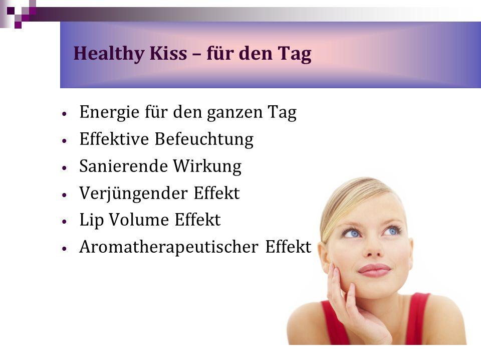 Energie für den ganzen Tag Effektive Befeuchtung Sanierende Wirkung Verjüngender Effekt Lip Volume Effekt Aromatherapeutischer Effekt Healthy Kiss – f