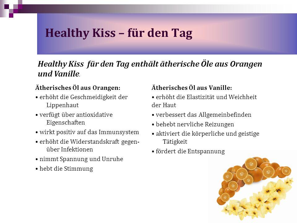 Ätherisches Öl aus Orangen: erhöht die Geschmeidigkeit der Lippenhaut verfügt über antioxidative Eigenschaften wirkt positiv auf das Immunsystem erhöh