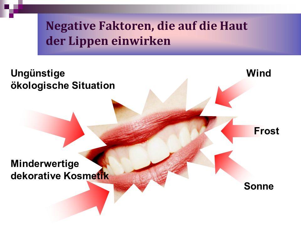 Negative Faktoren, die auf die Haut der Lippen einwirken Minderwertige dekorative Kosmetik Wind Frost Sonne Ungünstige ökologische Situation