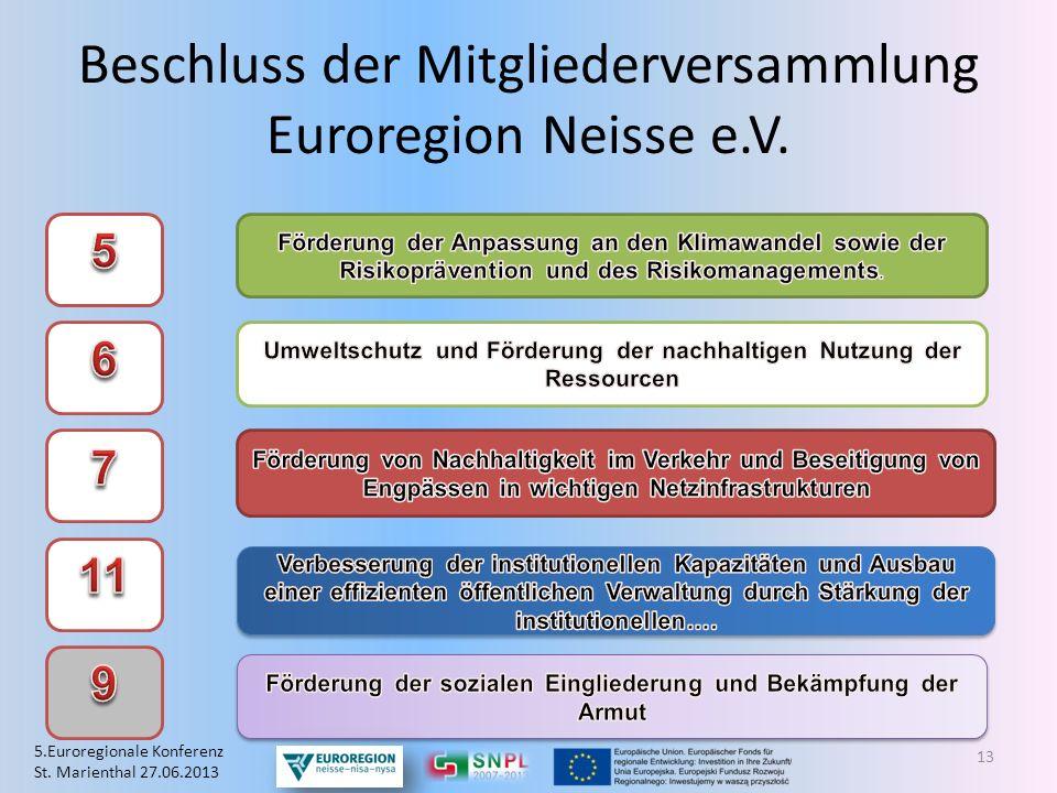 Beschluss der Mitgliederversammlung Euroregion Neisse e.V. 13 5.Euroregionale Konferenz St. Marienthal 27.06.2013