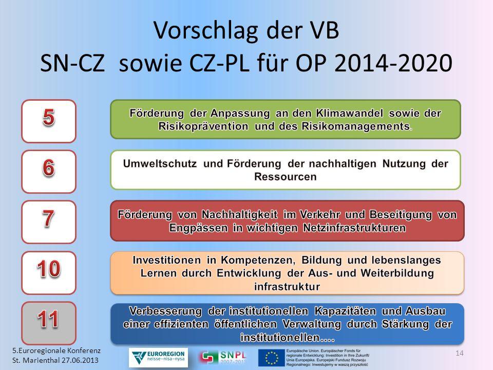 Vorschlag der VB SN-CZ sowie CZ-PL für OP 2014-2020 14 5.Euroregionale Konferenz St. Marienthal 27.06.2013