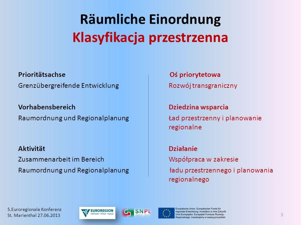 Räumliche Einordnung Klasyfikacja przestrzenna Prioritätsachse Oś priorytetowa Grenzübergreifende Entwicklung Rozwój transgraniczny VorhabensbereichDz