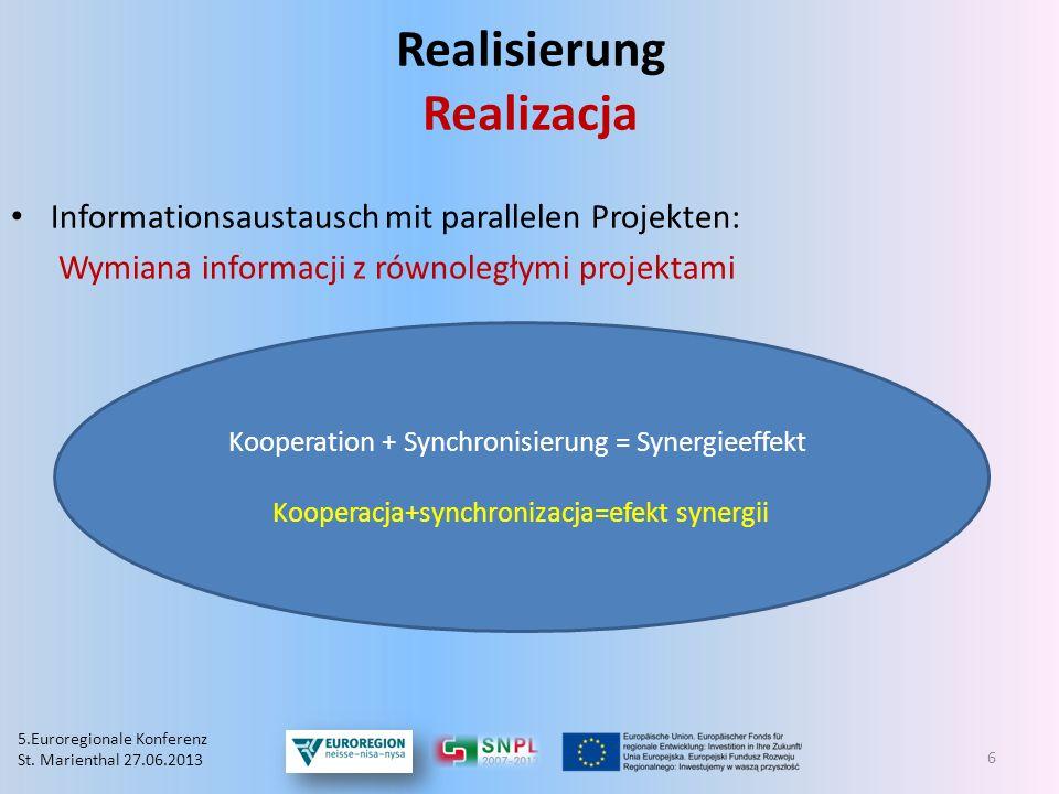 Realisierung Realizacja Informationsaustausch mit parallelen Projekten: Wymiana informacji z równoległymi projektami Kooperation + Synchronisierung =