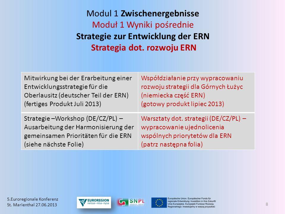 Modul 1 Zwischenergebnisse Moduł 1 Wyniki pośrednie Strategie zur Entwicklung der ERN Strategia dot. rozwoju ERN 8 Mitwirkung bei der Erarbeitung eine