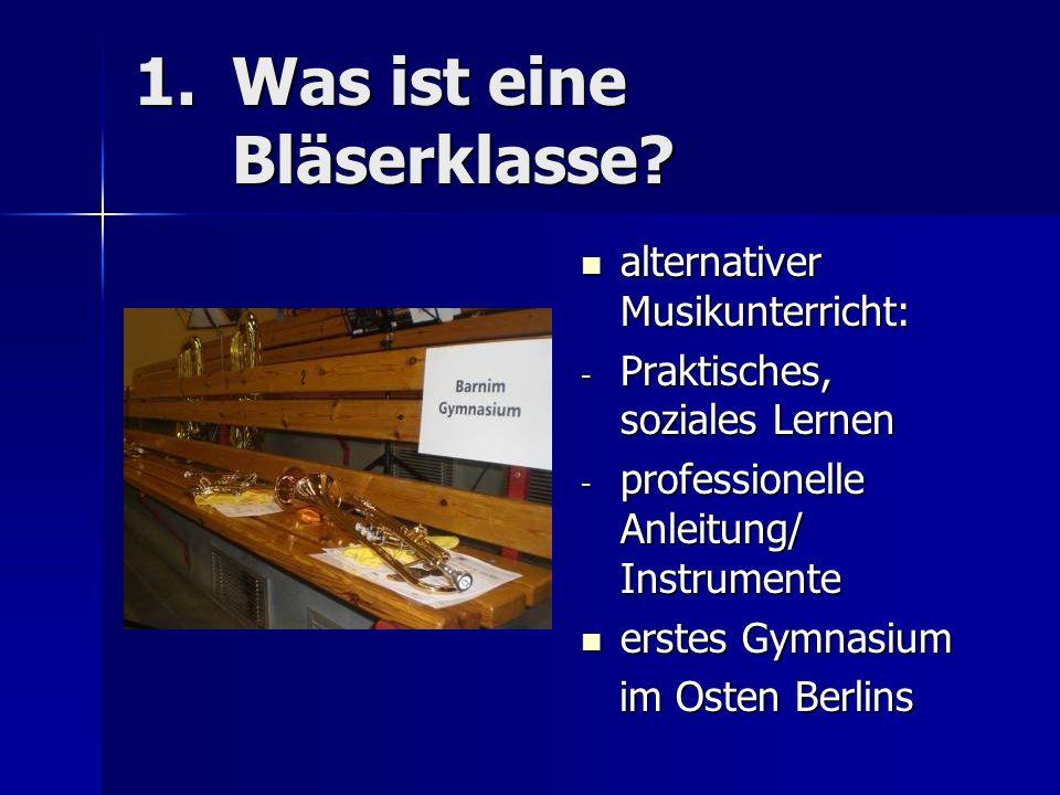 BK I: 25 Schüler/ seit Februar 2011 BK I: 25 Schüler/ seit Februar 2011 BK II: 21 Schüler/ seit September 2011 BK II: 21 Schüler/ seit September 2011 Yamaha- Instrumente (+Bass, Drumset) Yamaha- Instrumente (+Bass, Drumset) 1h Ensemble/ 1h Teilprobe 1h Ensemble/ 1h Teilprobe Probenfahrt (Mirow) Probenfahrt (Mirow) 2.