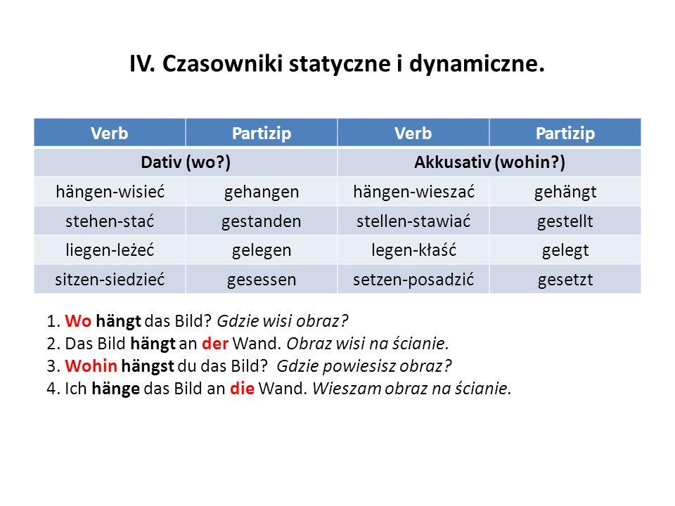 IV. Czasowniki statyczne i dynamiczne.