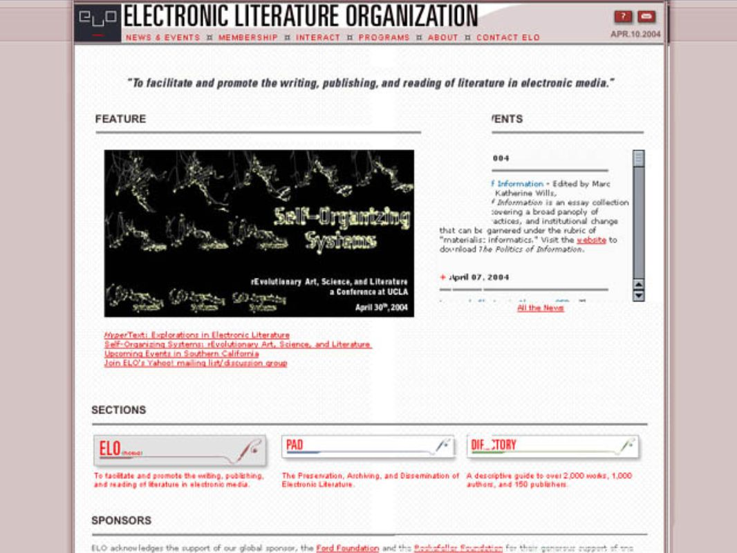 E-LitE-Lit 2D 3D Electronic literature intended to be read on a computer screen Electronic literature taking place in actual three-dimensional spaces (Hayles, EL, 8)