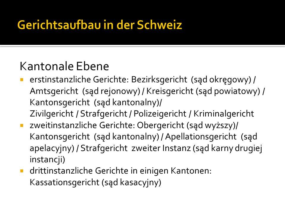 Kantonale Ebene erstinstanzliche Gerichte: Bezirksgericht (sąd okręgowy) / Amtsgericht (sąd rejonowy) / Kreisgericht (sąd powiatowy) / Kantonsgericht (sąd kantonalny)/ Zivilgericht / Strafgericht / Polizeigericht / Kriminalgericht zweitinstanzliche Gerichte: Obergericht (sąd wyższy)/ Kantonsgericht (sąd kantonalny) / Apellationsgericht (sąd apelacyjny) / Strafgericht zweiter Instanz (sąd karny drugiej instancji) drittinstanzliche Gerichte in einigen Kantonen: Kassationsgericht (sąd kasacyjny)