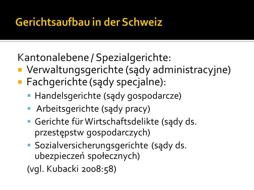 Kantonalebene / Spezialgerichte: Verwaltungsgerichte (sądy administracyjne) Fachgerichte (sądy specjalne): Handelsgerichte (sądy gospodarcze) Arbeitsgerichte (sądy pracy) Gerichte für Wirtschaftsdelikte (sądy ds.