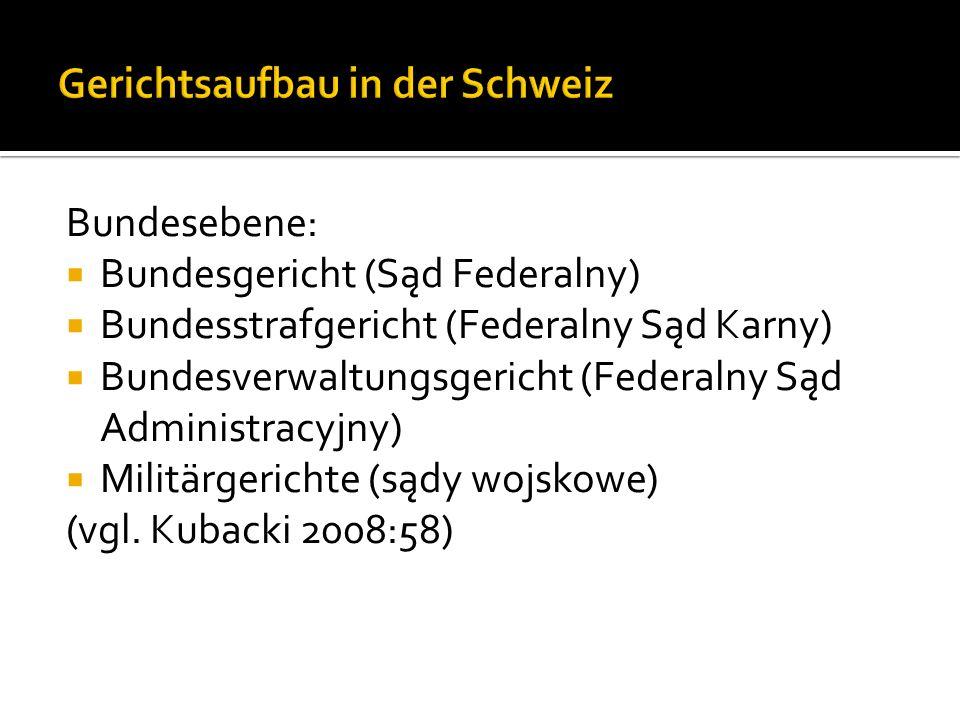 Bundesebene: Bundesgericht (Sąd Federalny) Bundesstrafgericht (Federalny Sąd Karny) Bundesverwaltungsgericht (Federalny Sąd Administracyjny) Militärgerichte (sądy wojskowe) (vgl.